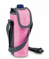 Flessen koeltasje roze met schouderband