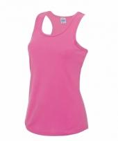 Fluor roze strand singlet sneldrogend voor dames