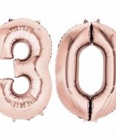 Folie ballon rosegoud cijfer 30