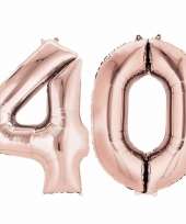 Folie ballon rosegoud cijfer 40