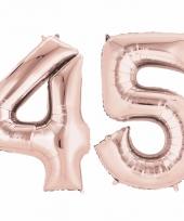 Folie ballon rosegoud cijfer 45