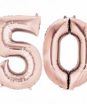 Folie ballon rosegoud cijfer 50