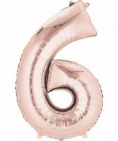 Folie ballon rosegoud cijfer 6