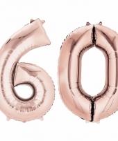 Folie ballon rosegoud cijfer 60