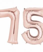 Folie ballon rosegoud cijfer 75