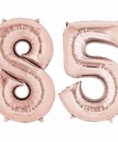 Folie ballon rosegoud cijfer 85