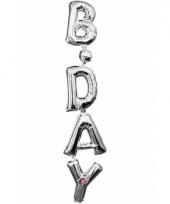Folieballon birthday zilver 96 cm