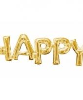 Folieballon happy goud 76 cm
