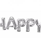 Folieballon happy zilver 76 cm