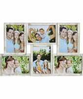 Fotolijst antiek wit voor 6 fotos 44 x 28 cm