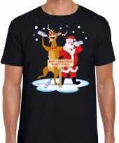 Foute kerst t-shirt dronken kerstman en rudolf zwart heren