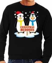 Foute kersttrui pinguin vriendjes zwart heren