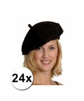 Franse baretten zwart 24 st