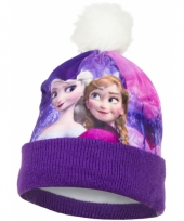 Frozen kindermuts paars met fleece