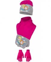 Frozen winter accessoires fuchsia met grijs