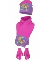 Frozen winter accessoires roze met paars