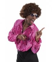 Fuchsia disco blouse voor heren