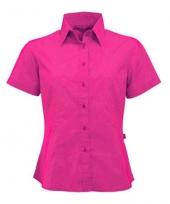 Fuchsia shortsleeve dames overhemd