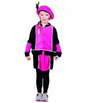 Fuchsia zwarte pieten jurk kostuum voor kids