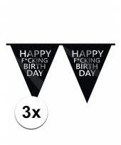 Fucking birthday feestvlaggenlijn 3 stuks