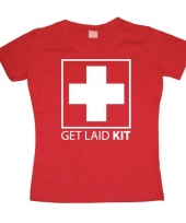 Fun tekst-shirt get laid kit dames