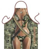 Funartikel schort military zone vrouw