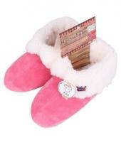 Fuschia dames pantoffels met bontvoering