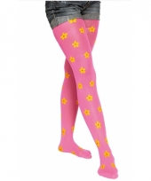 Gebloemde panty neon roze