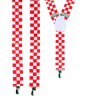 Geblokte bretels rood met wit
