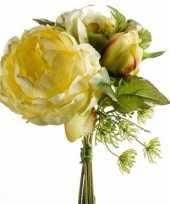 Gebonden boeket gele kunstbloemen 20 cm