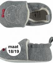 Geboorte kado jongetje baby slofjes met beer maat 18 19