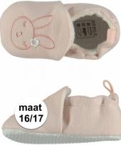 Geboorte kado meisjes baby slofjes met konijntje maat 16 17