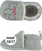 Geboorte kado meisjes baby slofjes met olifantje maat 16 17