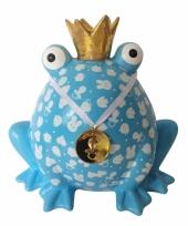 Geboorte spaarpot jongen blauwe kikker 24 cm