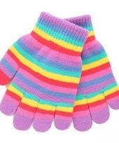 Gebreide regenboog handschoenen