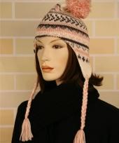 Gebreide roze winter muts dames