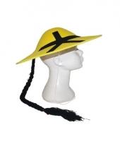 Geel aziatisch hoedje met vlecht