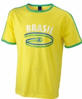 Geel heren shirtje brazilie vlag 10048393