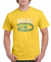 Geel heren shirtje met braziliaanse vlag 10048398