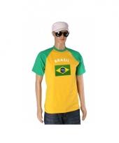 Geel met groen shirt met braziliaanse vlag 10074539