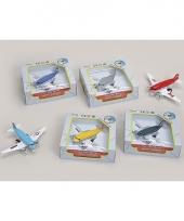 Geel metalen speelgoed vliegtuig 15 cm