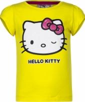 Geel shirt met hello kitty