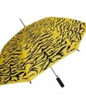 Geel zwarte tijgerprint paraplu 80 cm