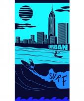 Gekleurd strandlaken city surf 95 100 x 175
