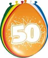 Gekleurde ballonnen 50 jaar 8 stuks