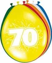 Gekleurde ballonnen 70 jaar 24x stuks