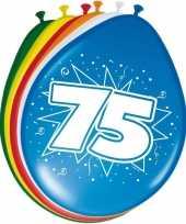 Gekleurde ballonnen 75 jaar 16x stuks