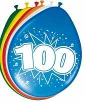 Gekleurde ballonnen versiering 100 jaar 24x stuks