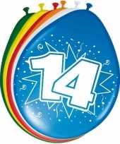 Gekleurde ballonnen versiering 14 jaar 24x stuks