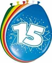 Gekleurde ballonnen versiering 15 jaar 16x stuks